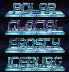 冬季质感的冰冻艺术字样式