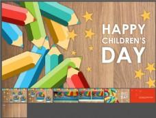 欢乐儿童节-可爱铅笔-亮丽多彩-PPT模板