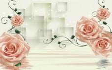 3D方塊倒影玫瑰圖片