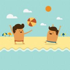 两个孩子在海滩上玩