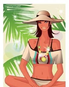 时尚女性 浪漫夏日 沙滩泳装 矢量人物 AI_72