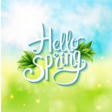 春天字体背景矢量背景图片