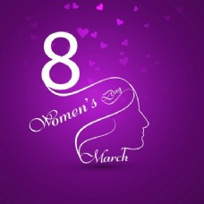 带紫色背景的妇女节贺卡
