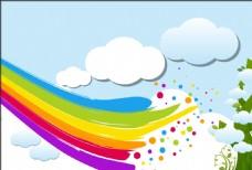 白云彩虹树木海报背景