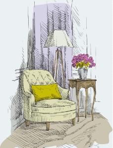 手绘单人扶手沙发图片