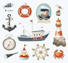 复古航海元素设计矢量素材