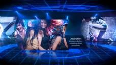 三维蓝色科技空间照片动感切换AE模板