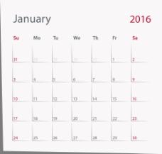 简约2016年日历表图片