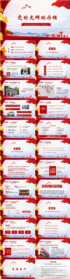 共产党的光辉历程工作汇报PPT模板范本