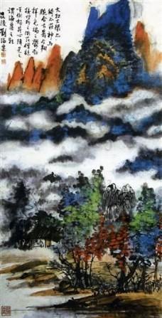 清山绿水山水国画