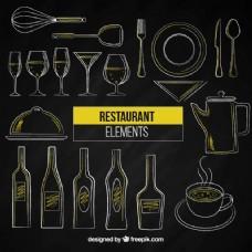 手绘餐厅元素