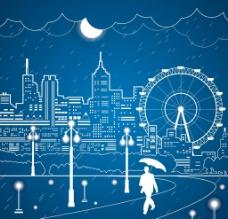 摩天轮夜景城市图片