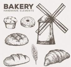 面包店素描素材