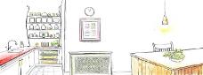 手绘现代感厨房背景