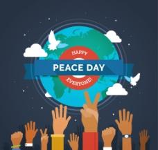 和平日背景与手和世界