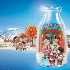 卡通创意玻璃瓶一家人背景
