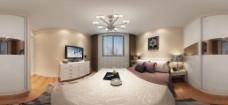現代簡約次臥室全景效果圖圖片