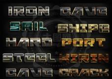 10款金属划痕背景艺术字样式
