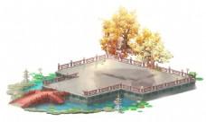 卡通网页游?#20998;?#24335;古风桥大树场景png元素