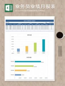 业务员业绩统计分析月报excel表条形图