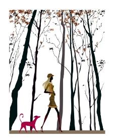 时尚女性生活场景插画之遛狗图片