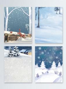 手绘冬季促销浅蓝色雪景清新