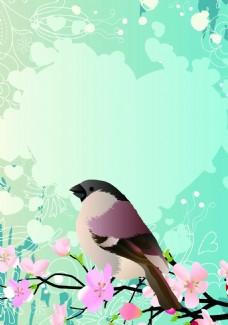 花卉小鸟背景装饰