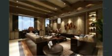 客厅 中式风格 效果图-施工图