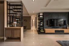 现代新中式客厅过道效果图