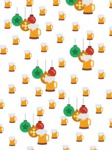 圣诞彩球啤酒元素壁纸