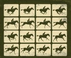 骑马剪影图片