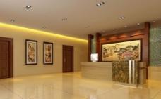大堂前台形象墙背景设计效果图图片