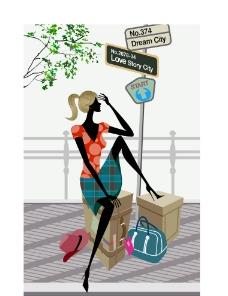 时尚女性旅行场景图片