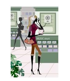 时尚女性在唱片店图片