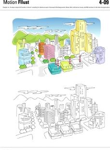 矢量城市插画图片