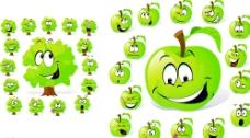 卡通苹果和树图片