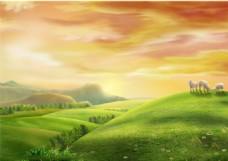 绿色草原绵羊背景素材