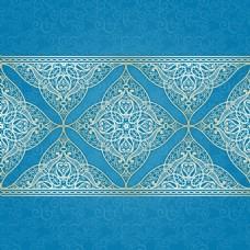 蓝色花纹背景矢量图