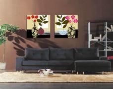 客厅花草装饰画无框画素材
