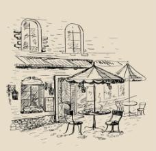 欧式街景咖啡厅线条图图片