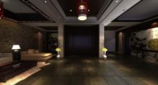 中式会所大厅效果图片
