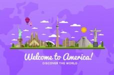 紫色背景欢迎来美国旅行矢量素材