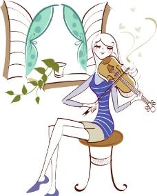 拉小提琴的女孩图片图片