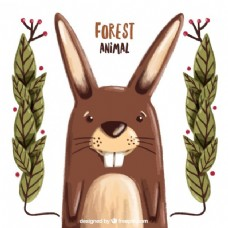 手画可爱的兔子与树叶装饰