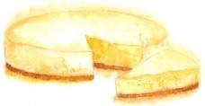 水彩绘美味芝士蛋糕