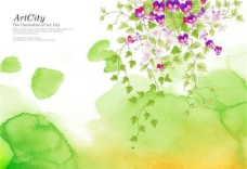 绿色蔓藤花纹底纹背景分层模板