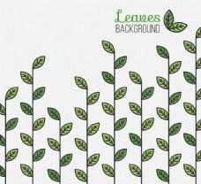 线形风格的绿叶背景