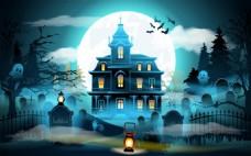 黑夜灯光城堡万圣节ai矢量素材下载