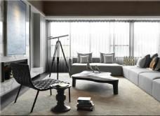 淡色设计客厅效果图