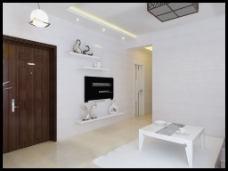 现代简约白色系客厅模型
